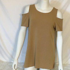 Grace Sleeveless Beige Tan Dess Shirt Blouse